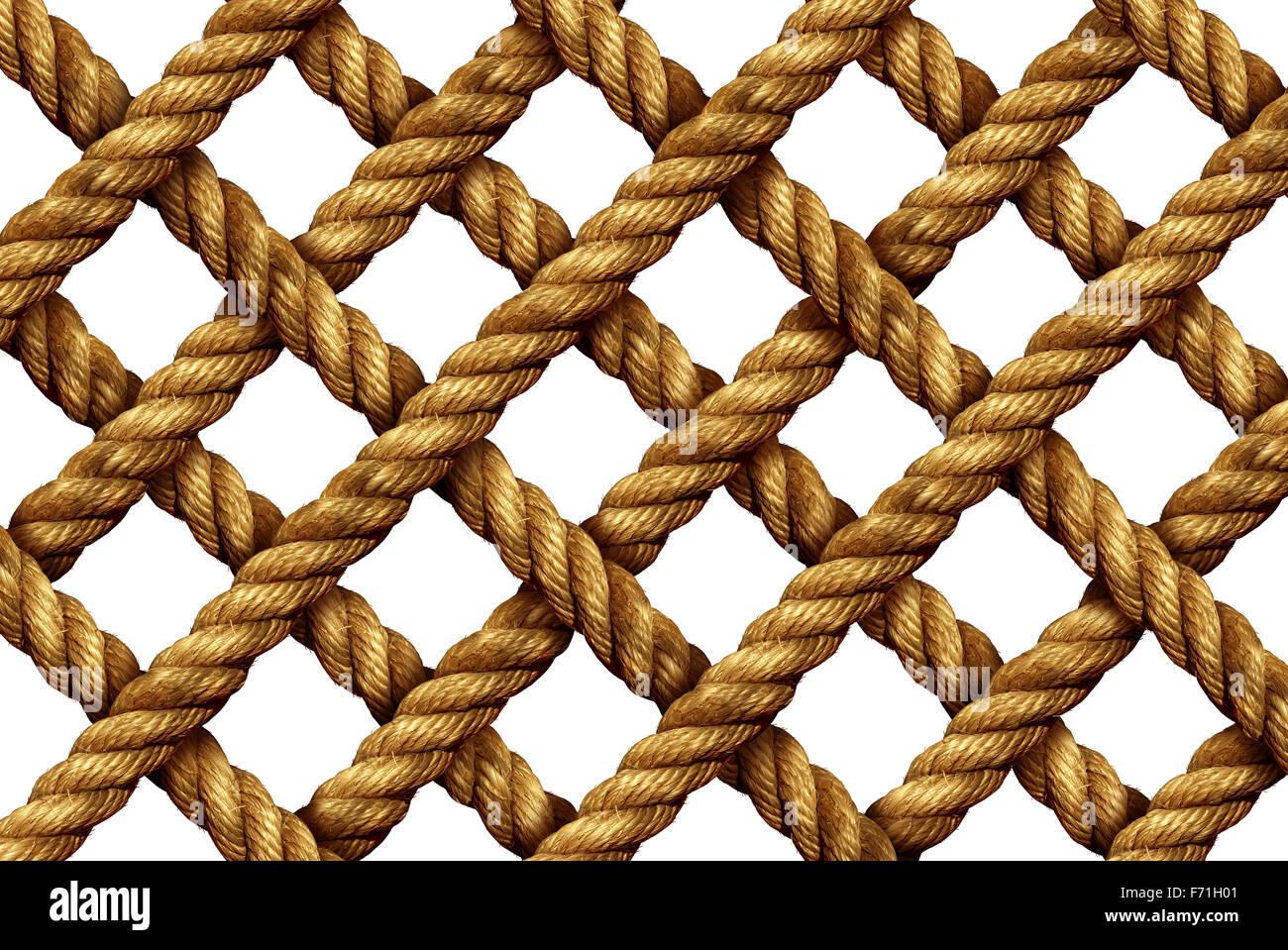 Grille de la corde comme un groupe de forte épaisseur cordons nautiques connecté dans une forme géométrique Photo Stock