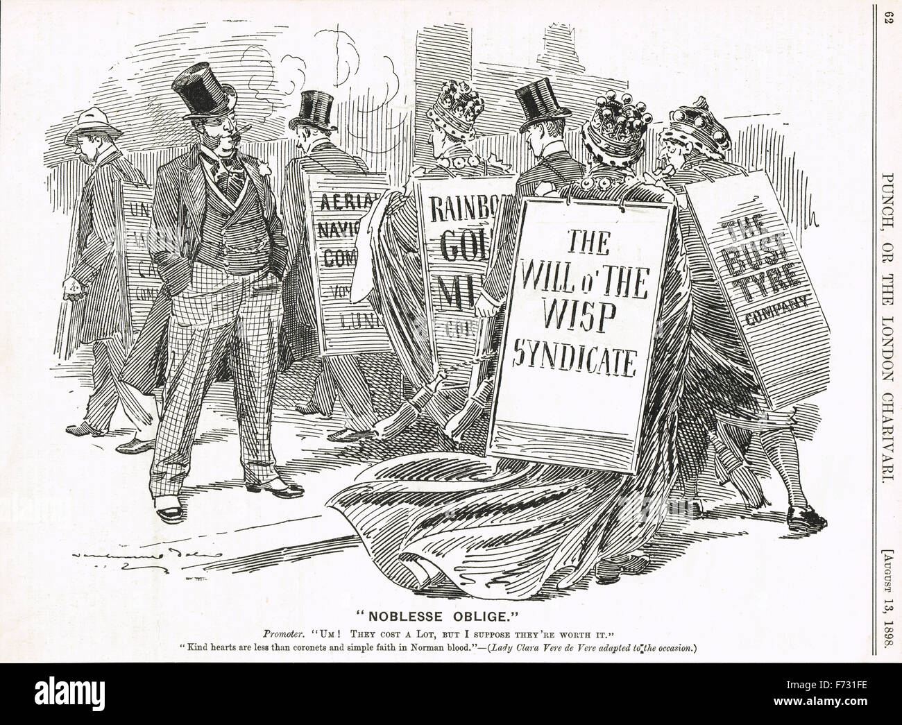 Punch cartoon 1898 Lords pour embaucher la satire Photo Stock