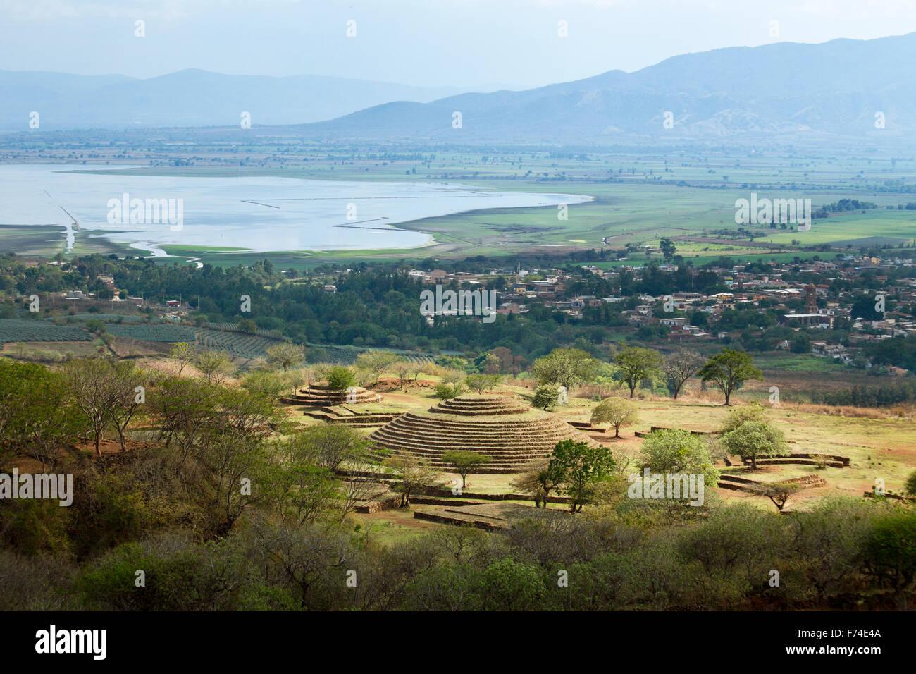 Le site précolombien guachimontones avec sa pyramide circulaire unique près de la ville de teuchitlan, Photo Stock