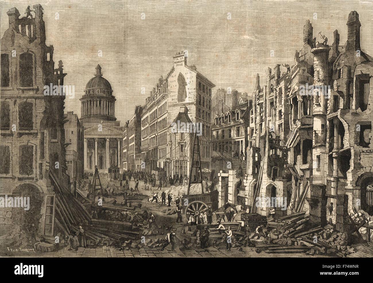 Les démolitions de Paris Quartier Latin 1860 Photo Stock