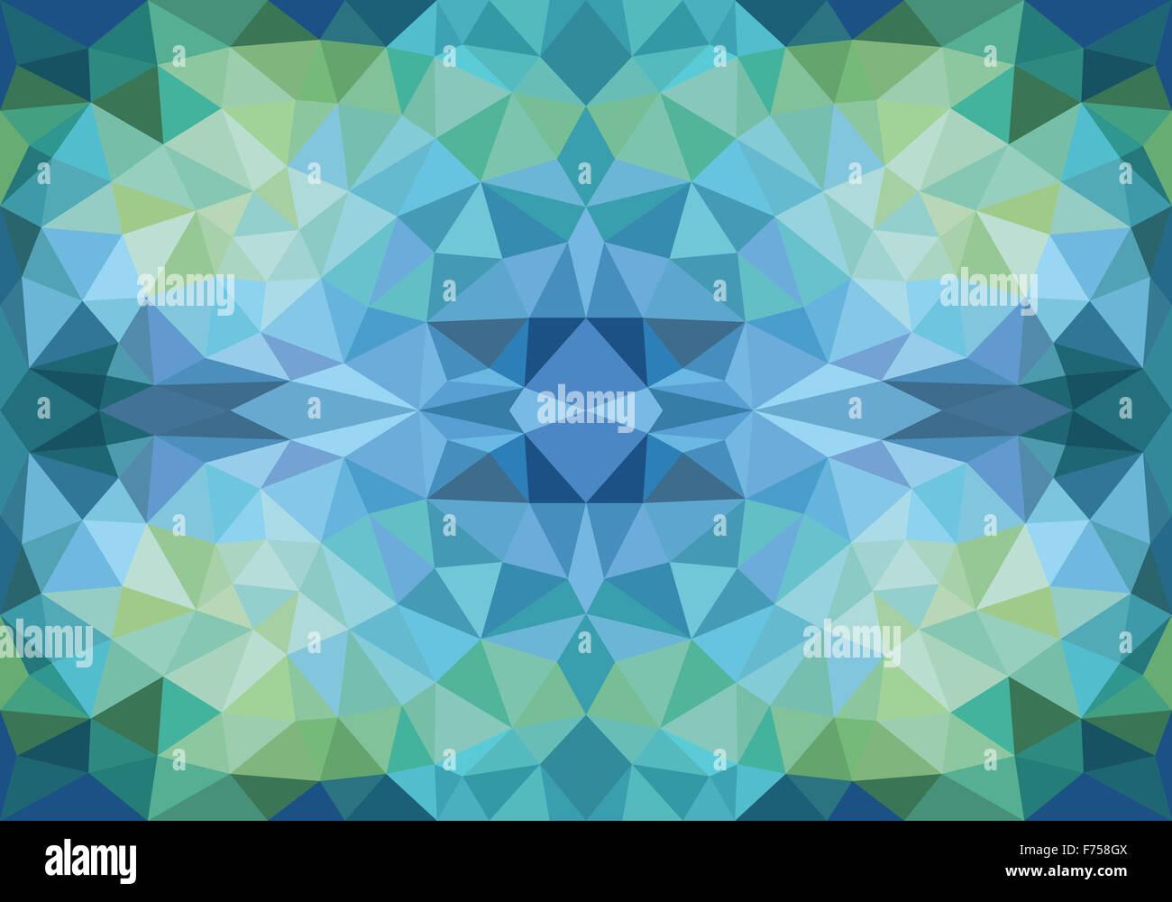 Géométrique abstrait polygone bleu et vert, motif de fond vectoriel continu Photo Stock