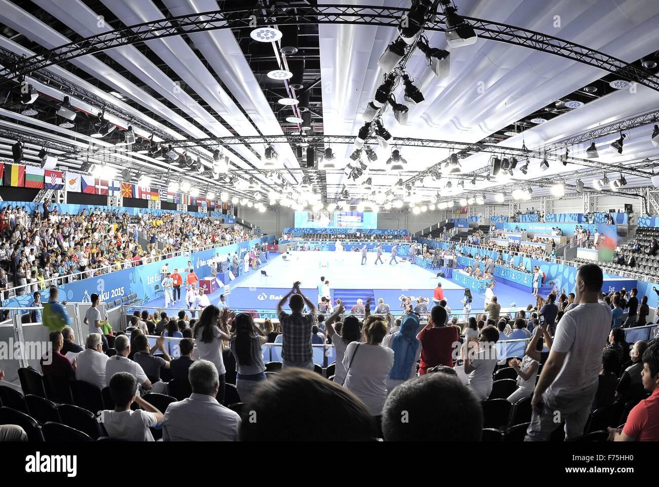 GV. Le karaté. Salle en cristal 3. Bakou. L'Azerbaïdjan. Baku2015. 1er jeux européens. 13/06/2015. Photo Stock