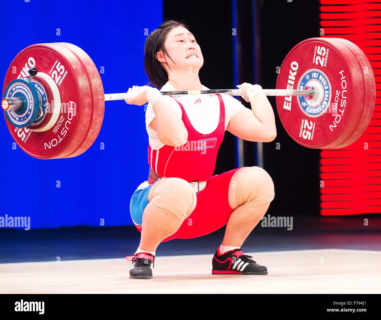 Houston, Texas, USA. 25Th Nov, 2015. Choe Hyo Sim de la Corée du Nord 139 kilogrammes dans les ascenseurs du Photo Stock