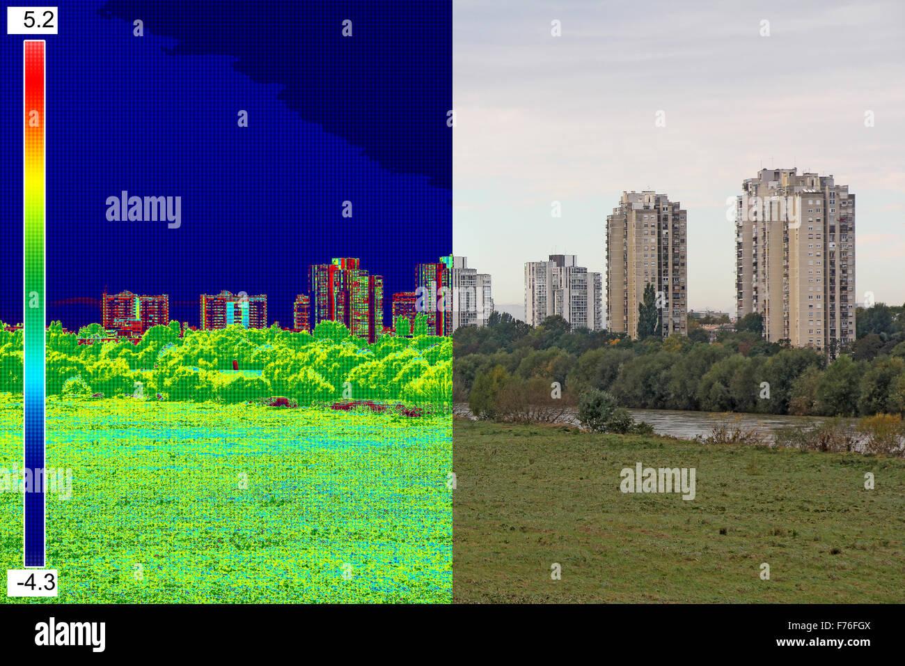 L'infrarouge et l'image réelle montrant le manque d'isolation thermique sur la construction résidentielle Photo Stock