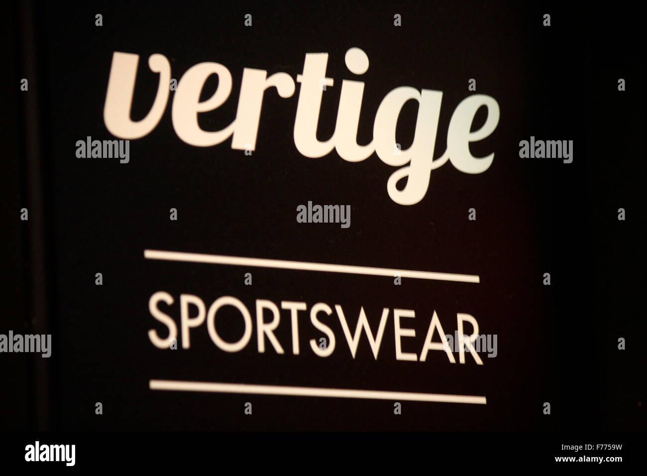 Markennamen: 'Vertige' Sportswear, Chamonix, Frankrfeich. Photo Stock