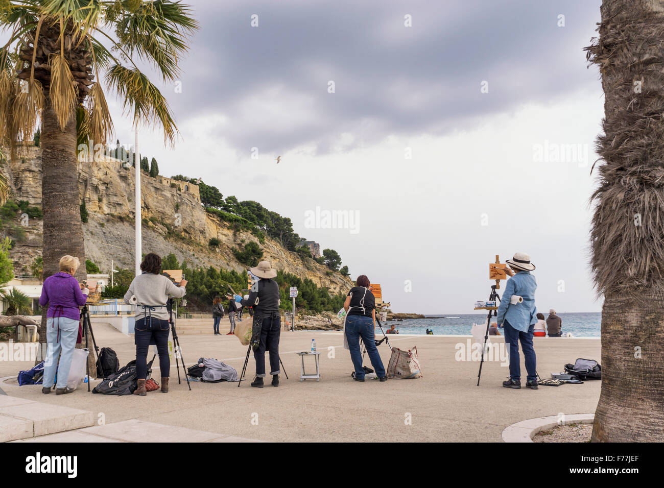 Artistes amateurs, Cassis , Atelier , Côte d Azur, France Photo Stock