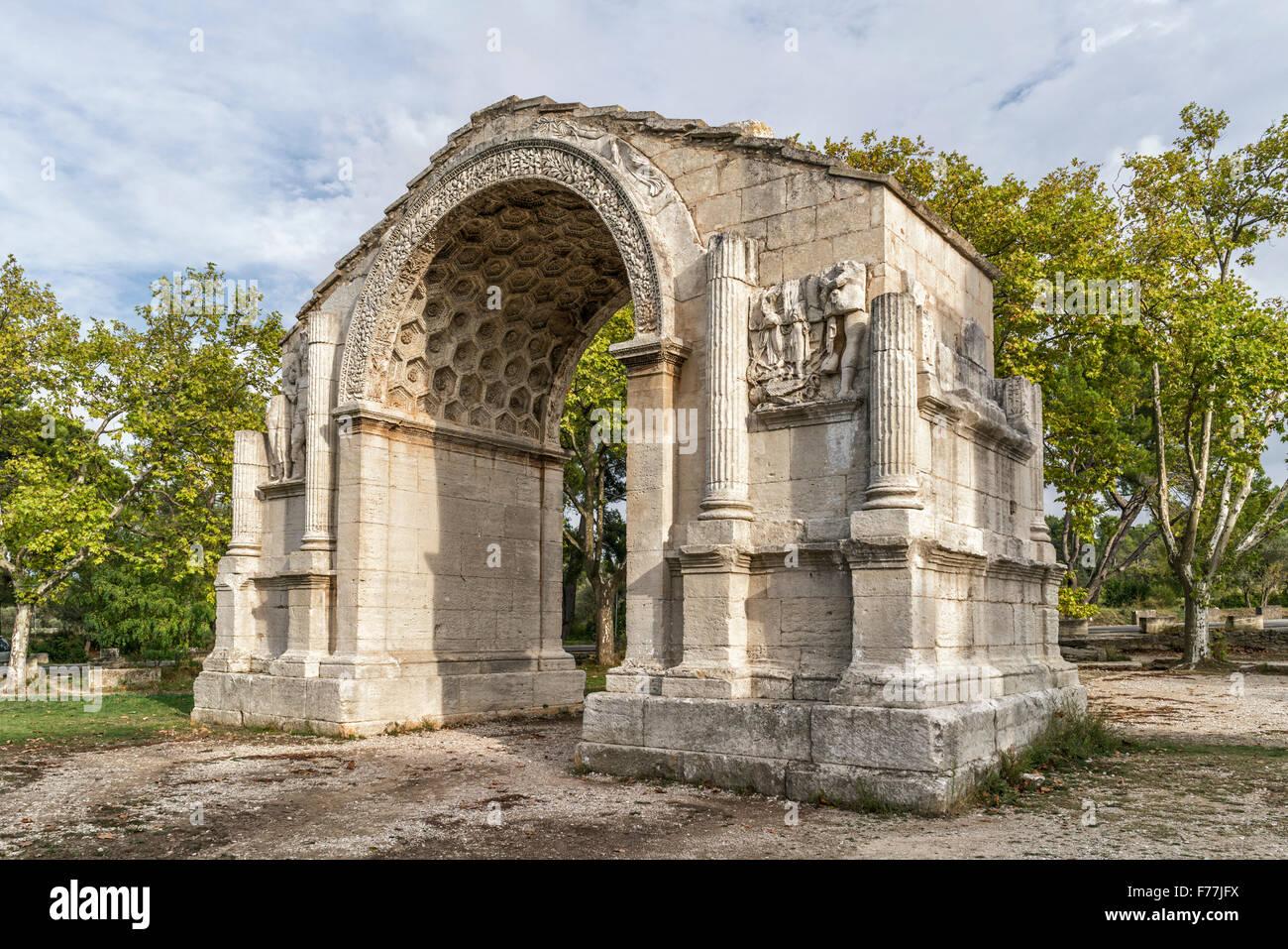 Ruines de Glanum, Washington square arch, monument romain, Saint Remy de Provence, France Photo Stock