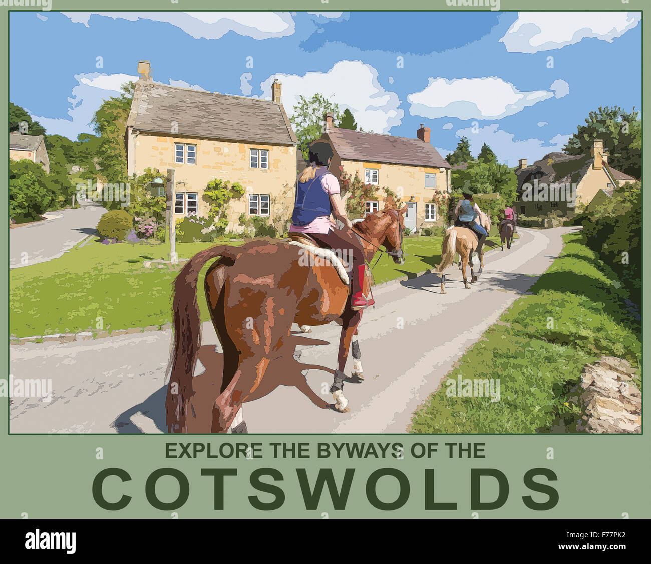 Un style poster illustration à partir d'une photo de cavaliers dans le village de Stanton, Worcestershire, Photo Stock