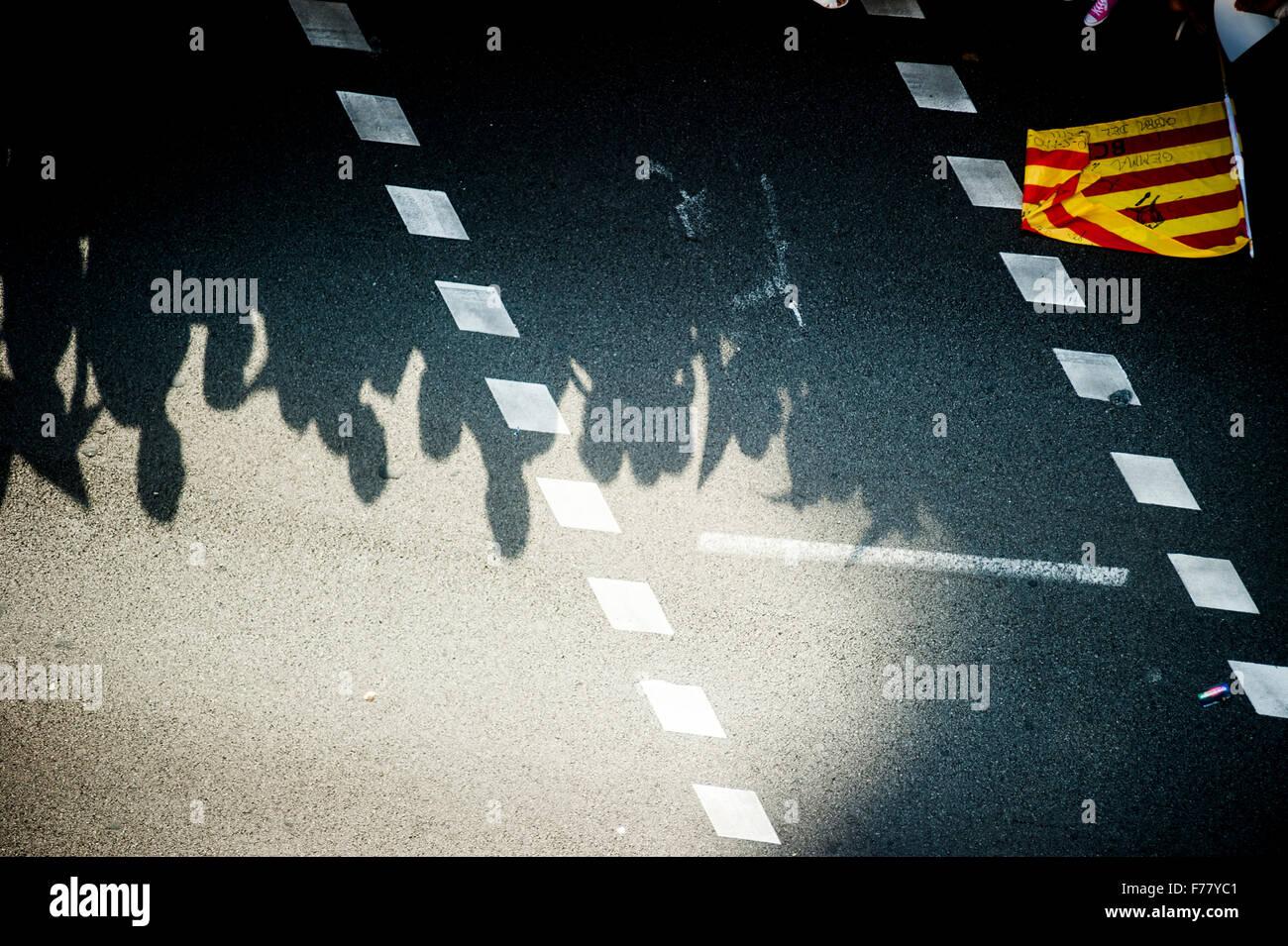 Journée nationale de la Catalogne 'via lluire' (via free) Photo Stock
