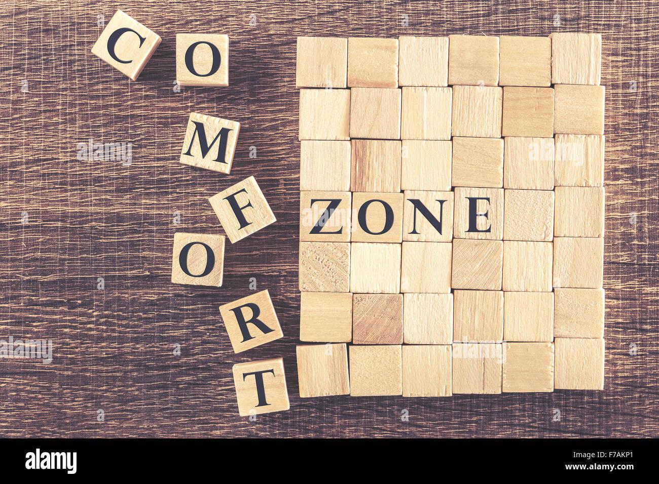 Sortez de votre zone de confort concept Banque D'Images