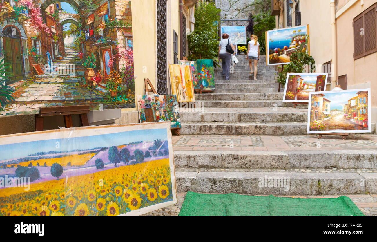 Peintures à vendre, vieille ville de Taormina, Sicile, Italie Photo Stock
