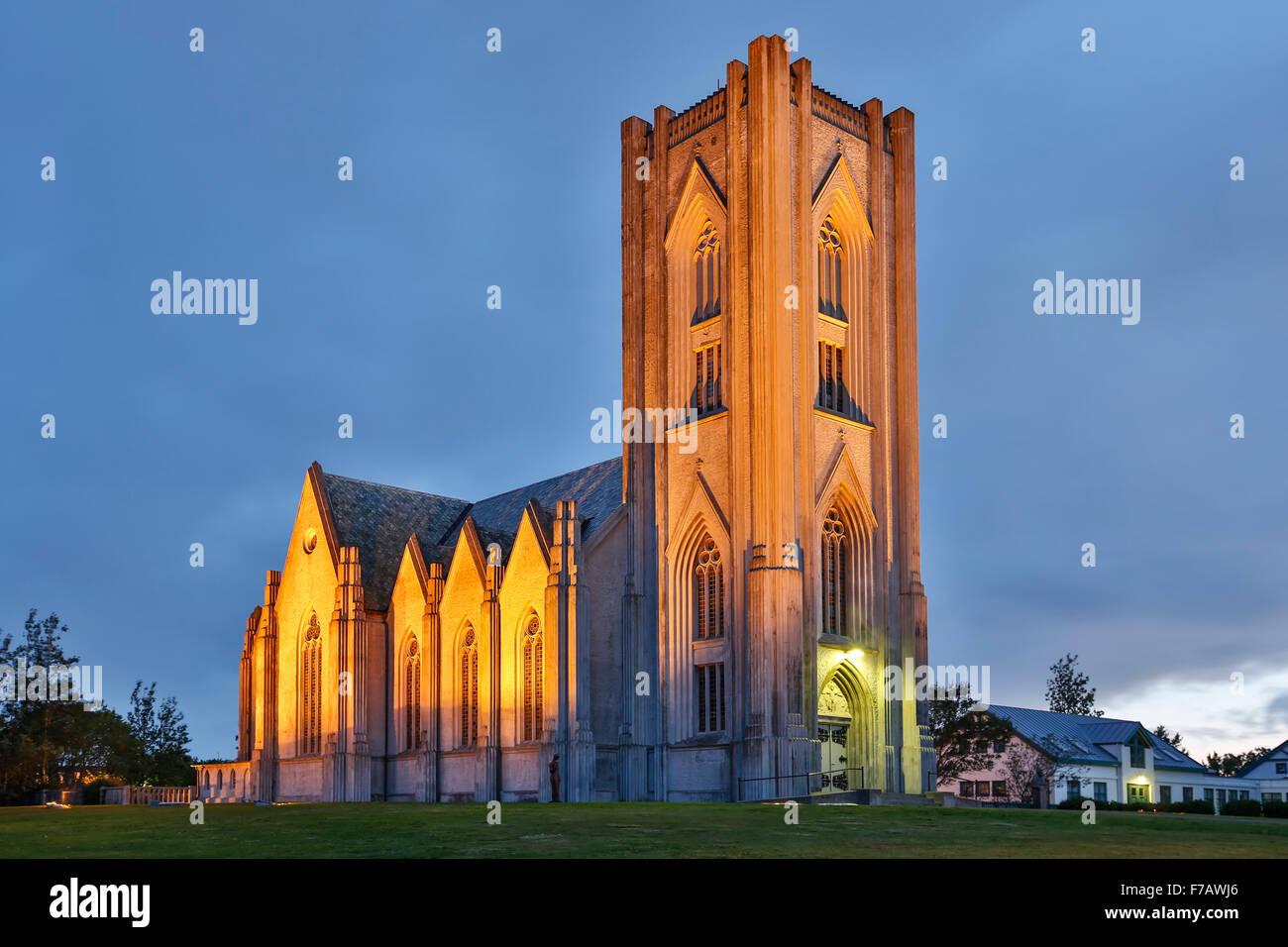 Cathédrale catholique du Christ Roi, Reykjavik, Islande Photo Stock