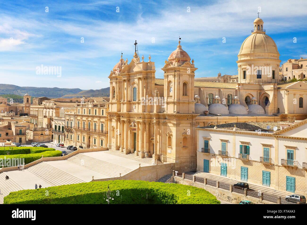 Noto baroque de San Nicolo, vieille ville de Noto, en Sicile, Italie l'UNESCO Photo Stock