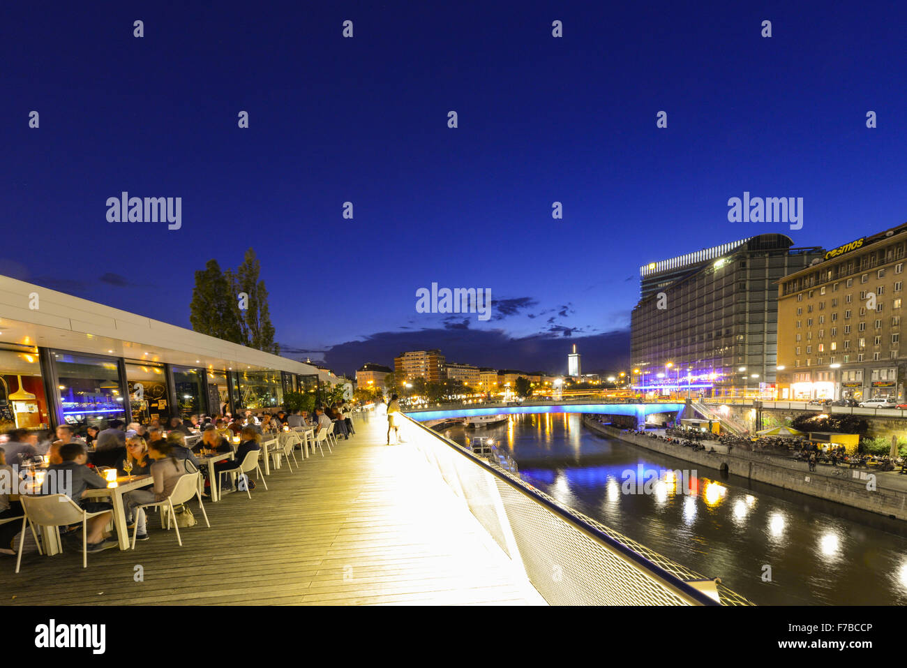 Le canal du Danube, Vienne, Autriche Photo Stock