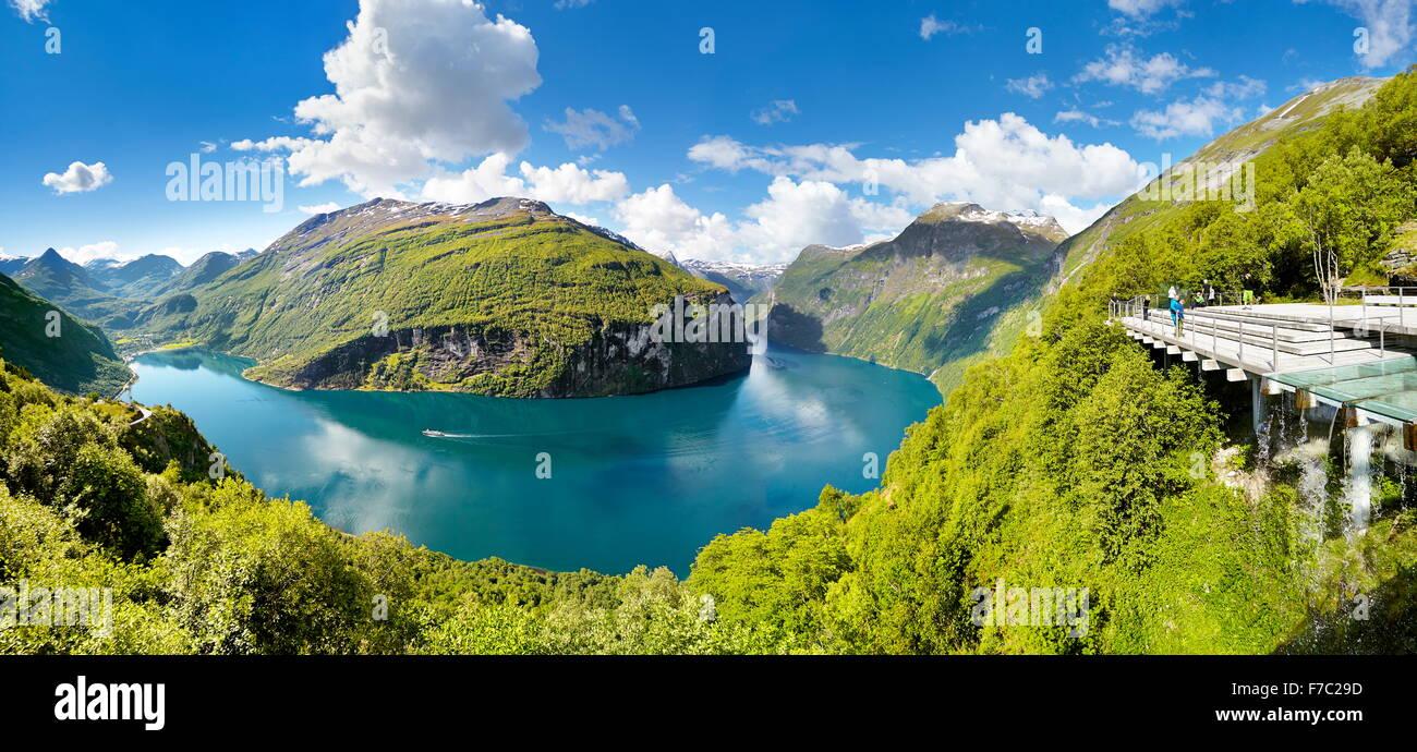 Point de vue fjord de Geiranger, Fjords Ouest, Norvège Photo Stock