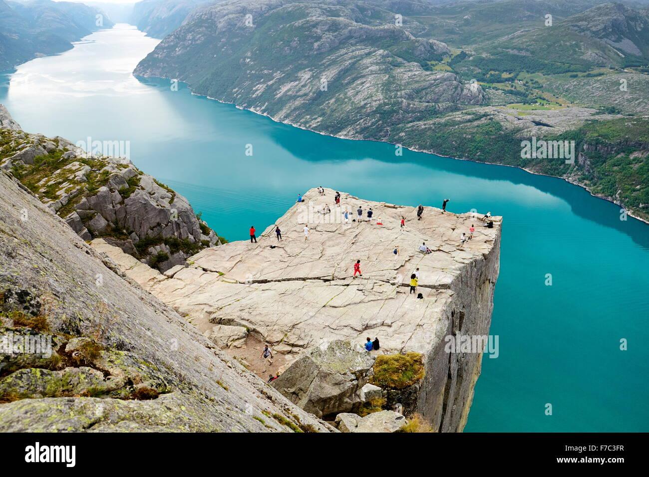 Paysage de Preikestolen Pulpit Rock, Lysefjorden, Norvège Photo Stock