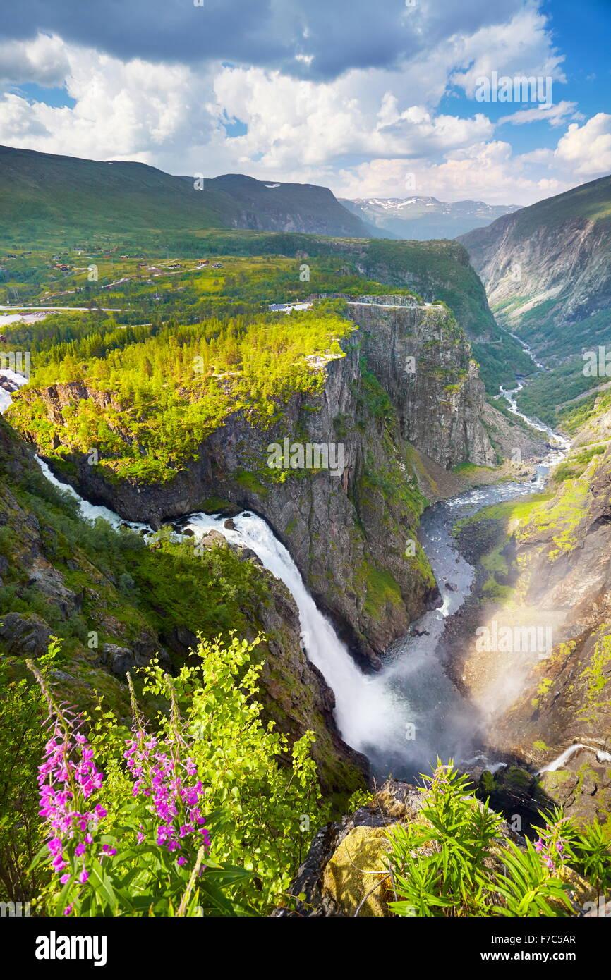 La cascade de Voringfossen, Hordaland, Norvège Photo Stock