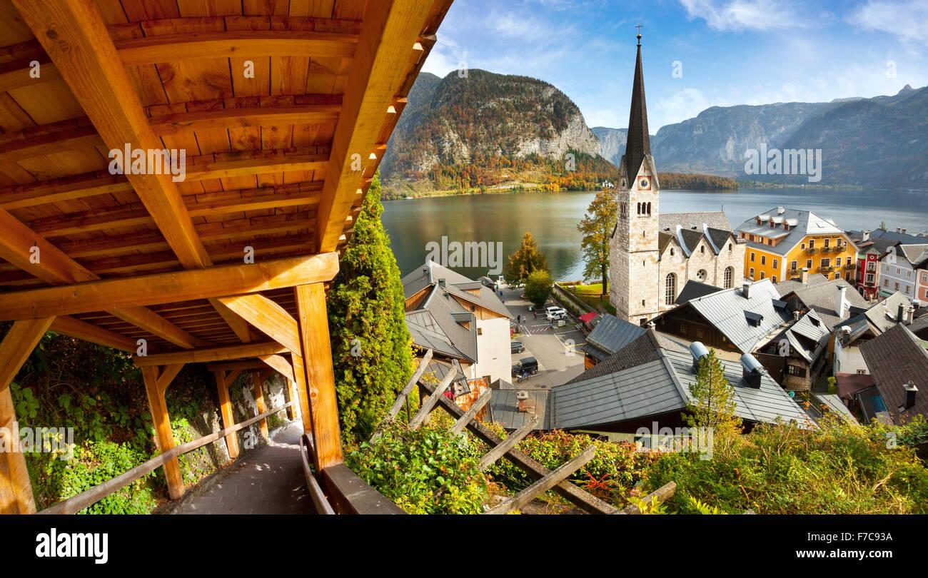 Autriche - Hallstatt Salzkammergut, village de montagne, Alpes autrichiennes, l'UNESCO Photo Stock