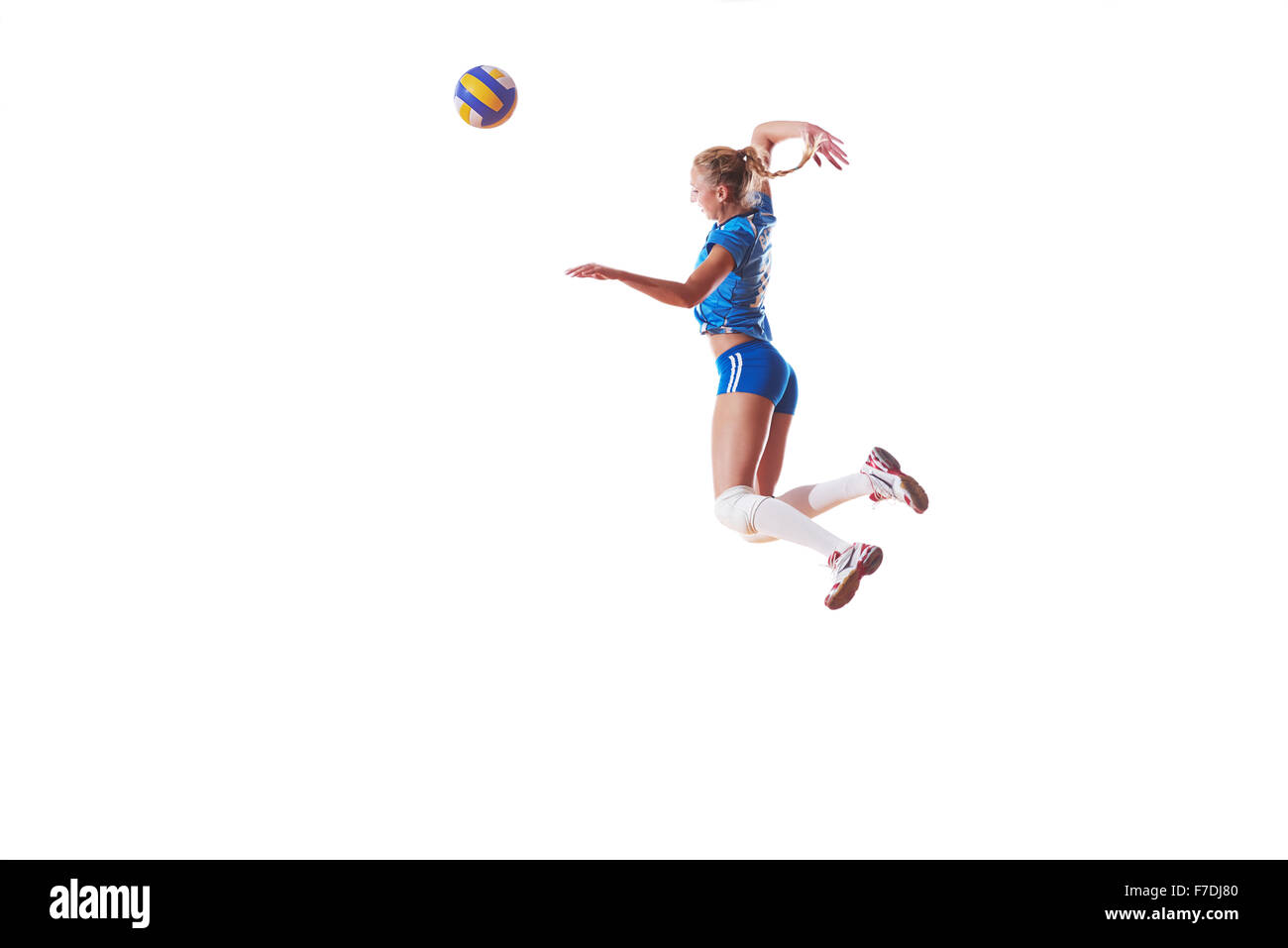 classic finest selection super quality Volley-ball femme jump et kick ball isolé sur fond blanc ...