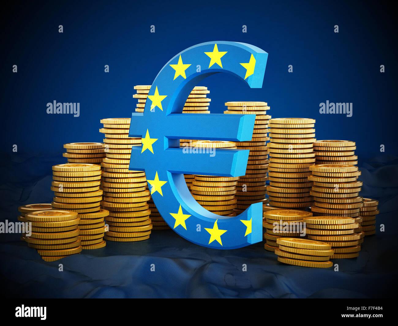 Symbole de l'euro et les pièces d'or sur fond bleu. Photo Stock