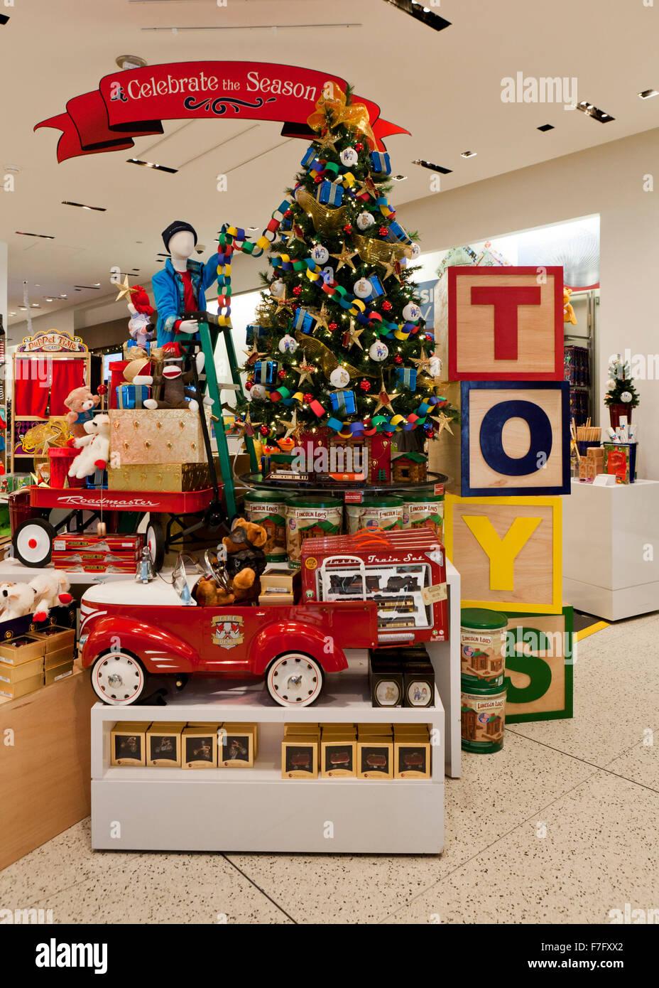 Les jouets de Noël affichage à shopping center - USA Photo Stock