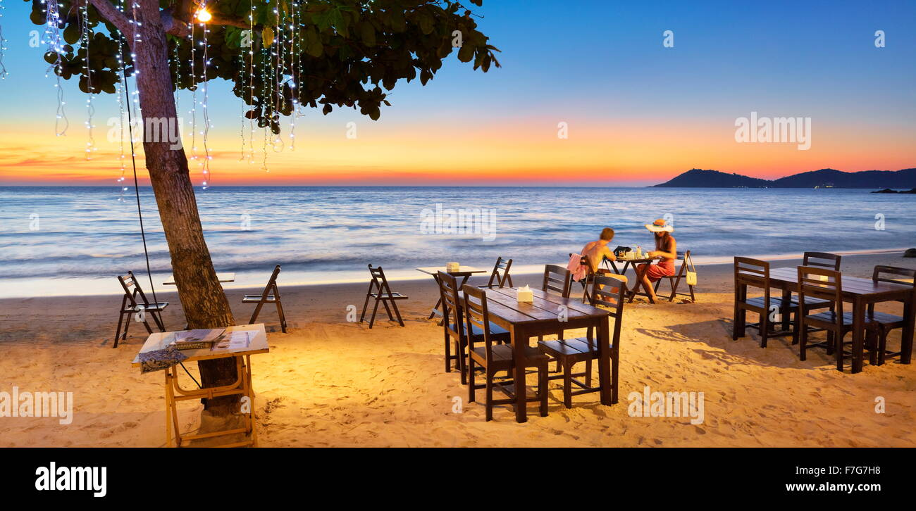 Restaurant de plage, Lima Coco Resort, Koh Samet Island, Thaïlande Photo Stock