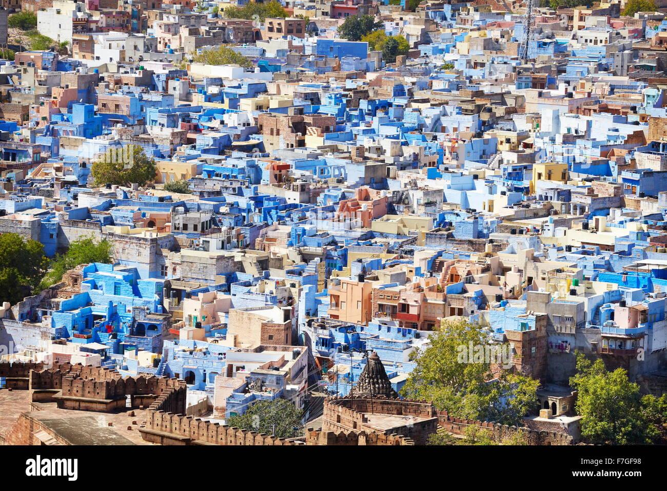 Jodhpur - vue de Meherangarh Fort de Jodhpur, la ville bleue du Rajasthan, Inde Banque D'Images
