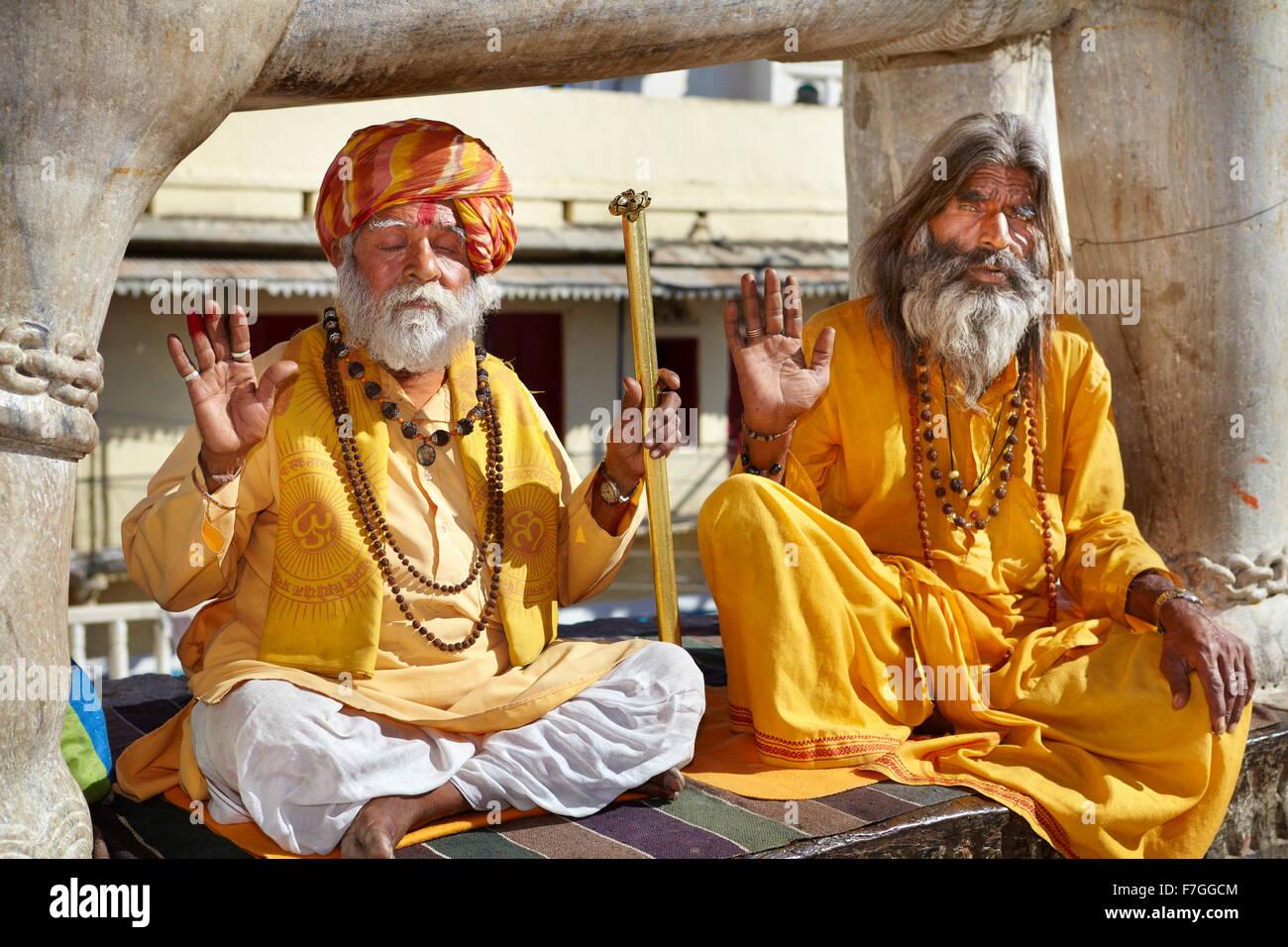Portrait de Sadhu, saint homme hindou de l'Inde, Udaipur, Inde Photo Stock