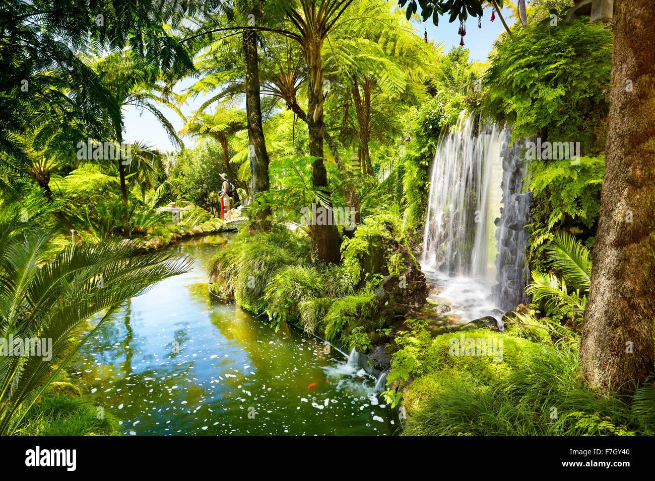 Monte Palace Tropical Garden (jardin japonais) - Funchal, monte, l'île de Madère, Portugal Photo Stock