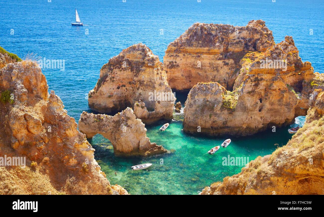 Côte de l'Algarve Ponta da Piedade près de Lagos, Algarve, Portugal Photo Stock