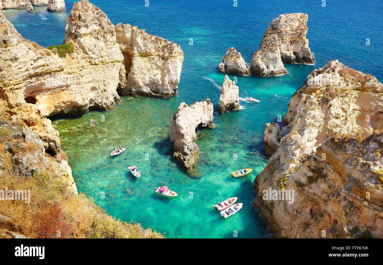 Côte de l'Algarve près de Ponta da Piedade, Portugal Photo Stock
