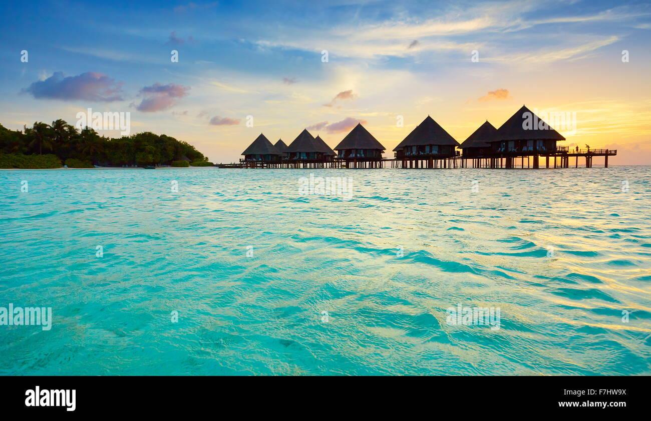Coucher du soleil à Îles Maldives Photo Stock