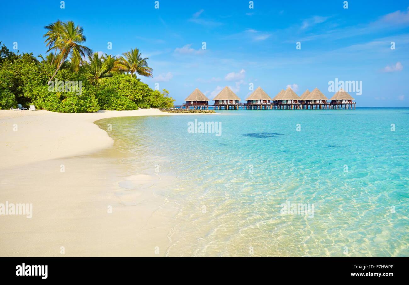 Tropical Beach at îles Maldives, Ari Atoll Photo Stock