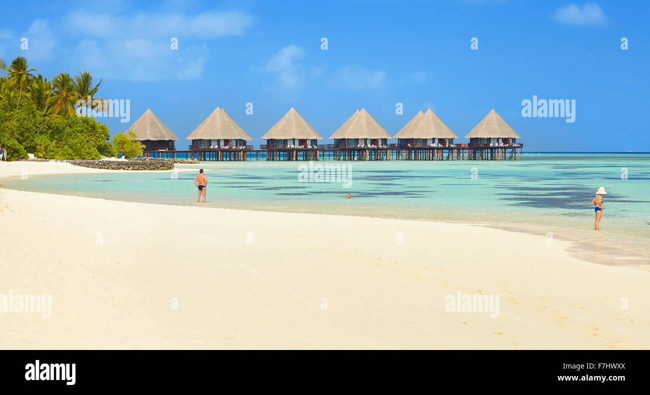 Plage des Maldives, Ari Atoll Photo Stock