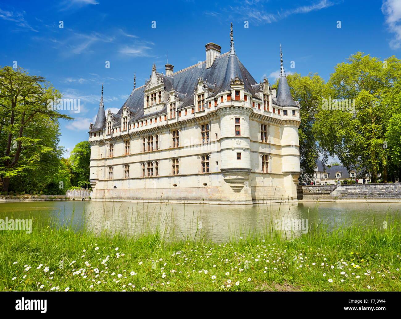D'Azay-le-Rideau Château, vallée de la Loire, France Photo Stock