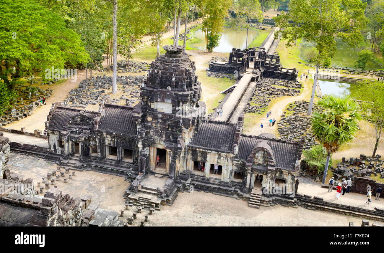 Ruines du temple Baphuon, Angkor Thom, au Cambodge, en Asie Photo Stock