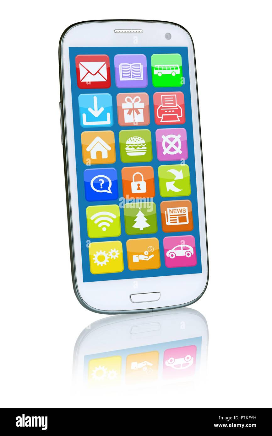 Téléphone intelligent ou mobile avec l'application app apps pour internet Photo Stock
