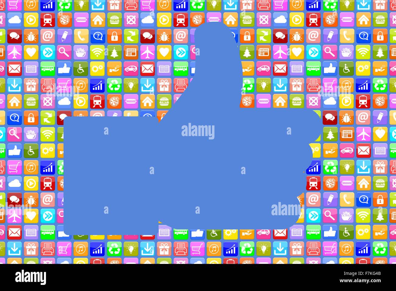 Applications Application App comme Thumbs up réseaux sociaux sur mobile ou téléphone intelligent Photo Stock