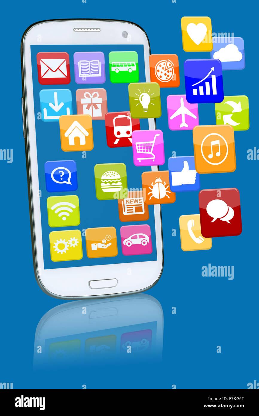 Téléphone intelligent ou téléphone mobile avec l'application app apps programmes pour internet Photo Stock