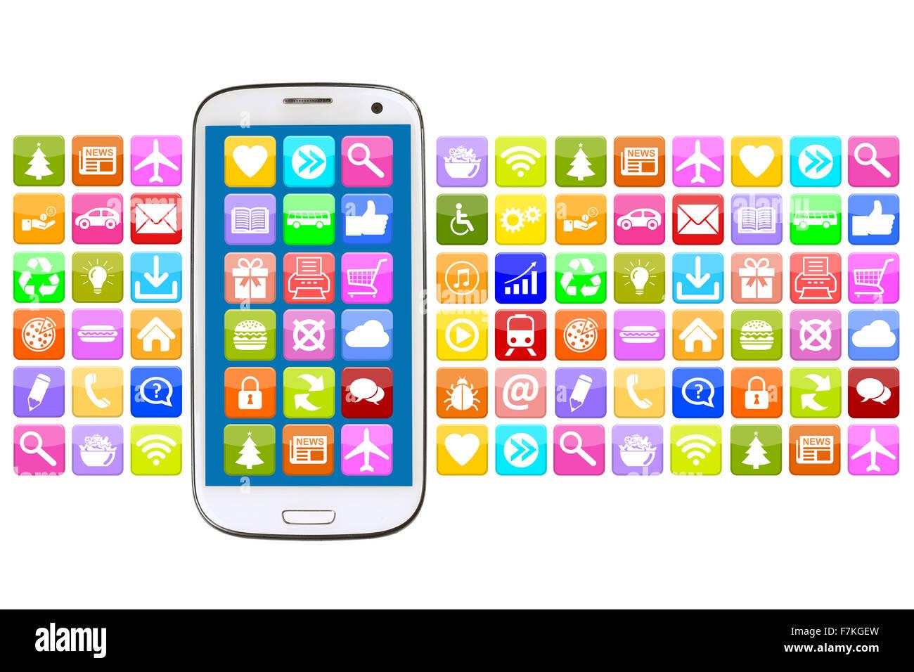 Avec l'application Smart phone app apps pour les communications internet Photo Stock