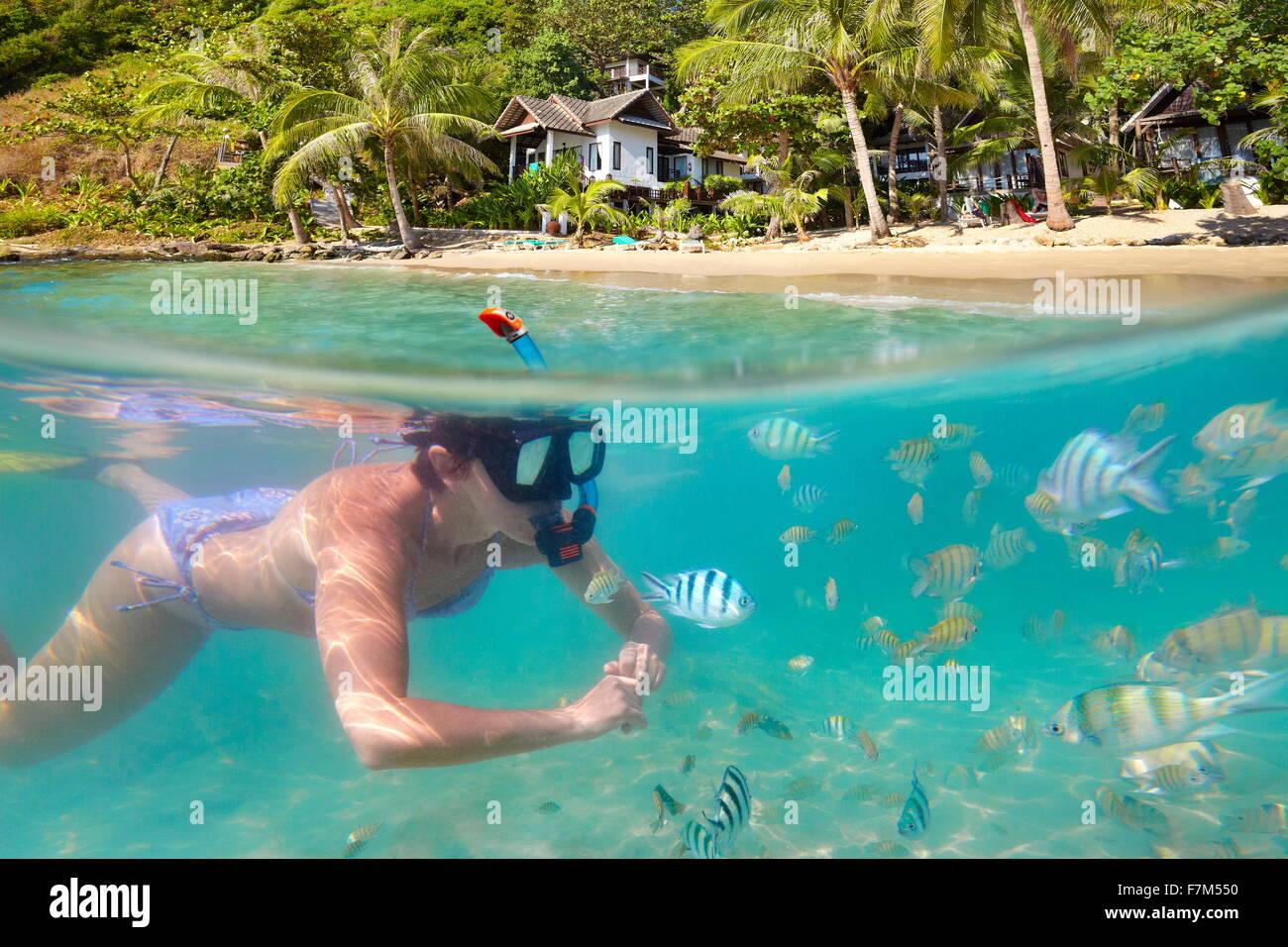 Femme plongée avec des poissons, plage de Ko Samet, Thailande, Asie Photo Stock