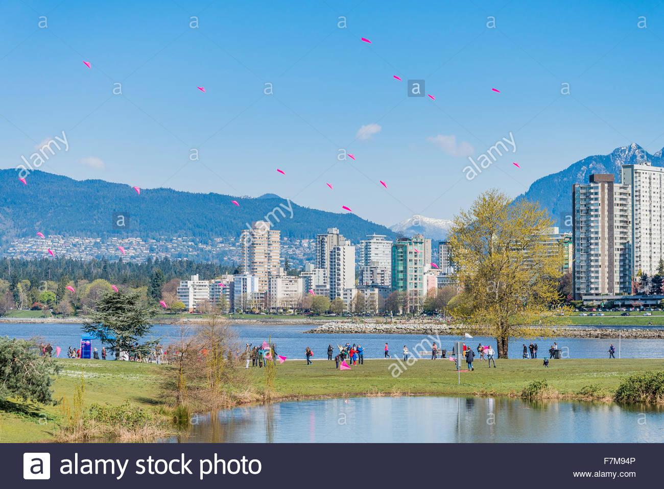 Pétales de cerisier Danse Kite, Vanier Park, Vancouver, British Columbia, Canada Photo Stock