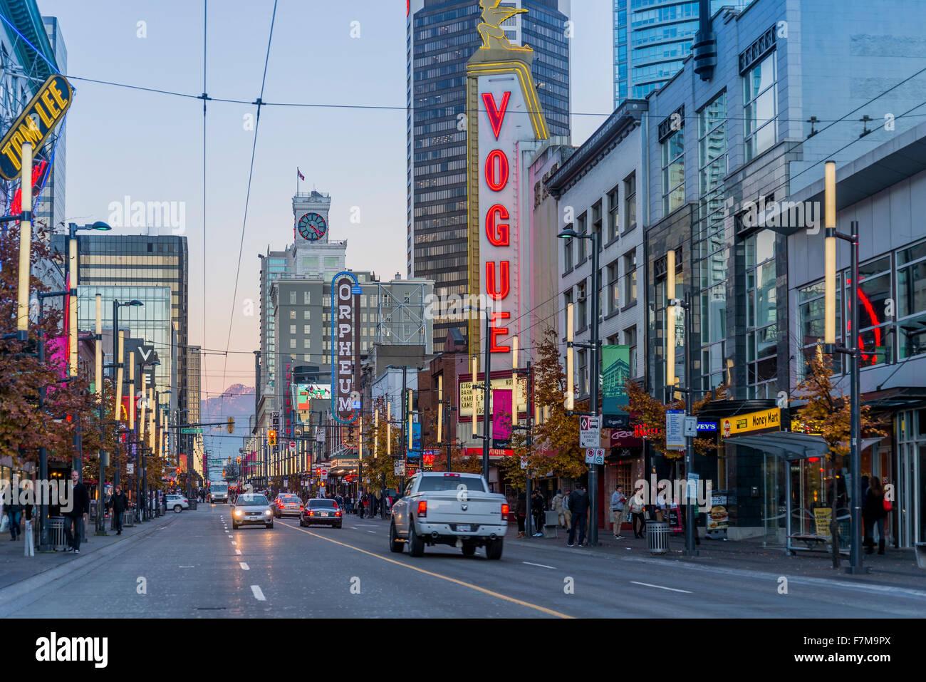 Vogue Theatre, Granville Street, Vancouver, British Columbia, Canada, Photo Stock