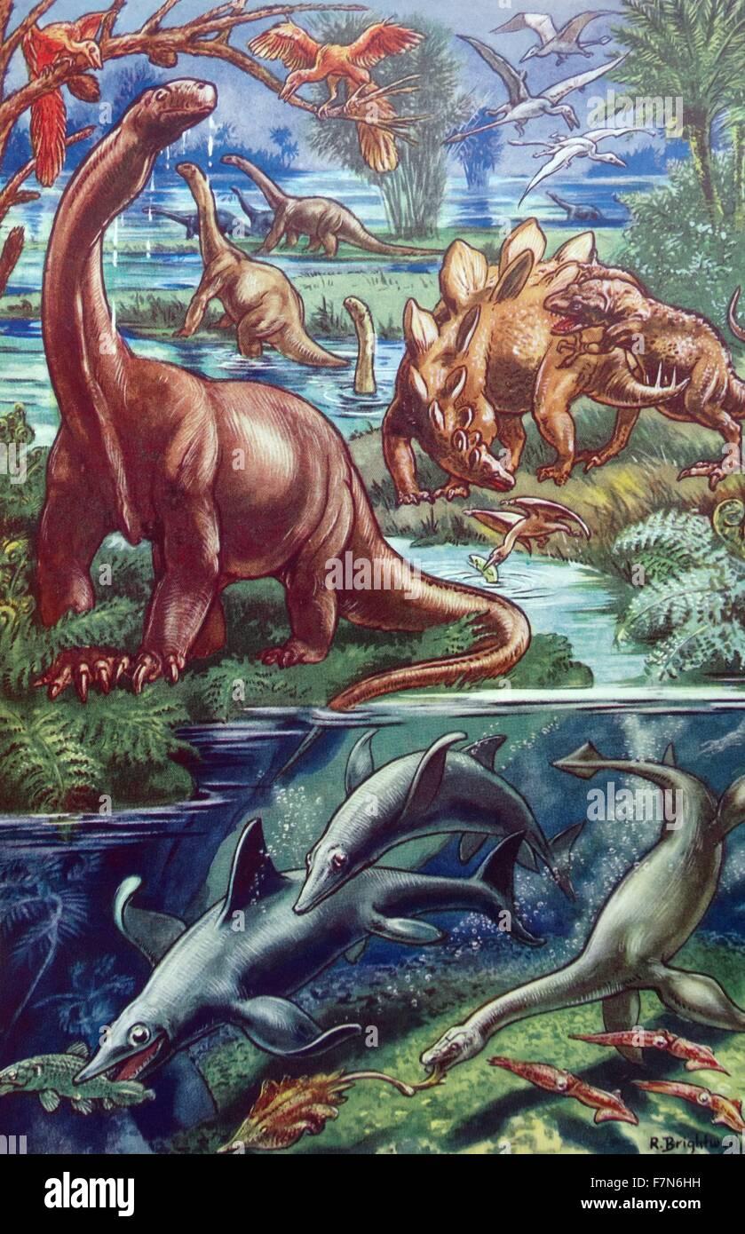 Children's book illustration datée du 1930: les dinosaures et les animaux marins Photo Stock