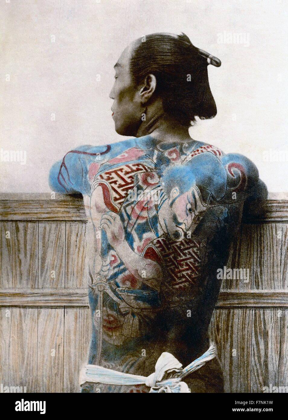 Guerrier Samouraï japonais avec des tatouages. Vintage photographie du Japon 1890 Photo Stock