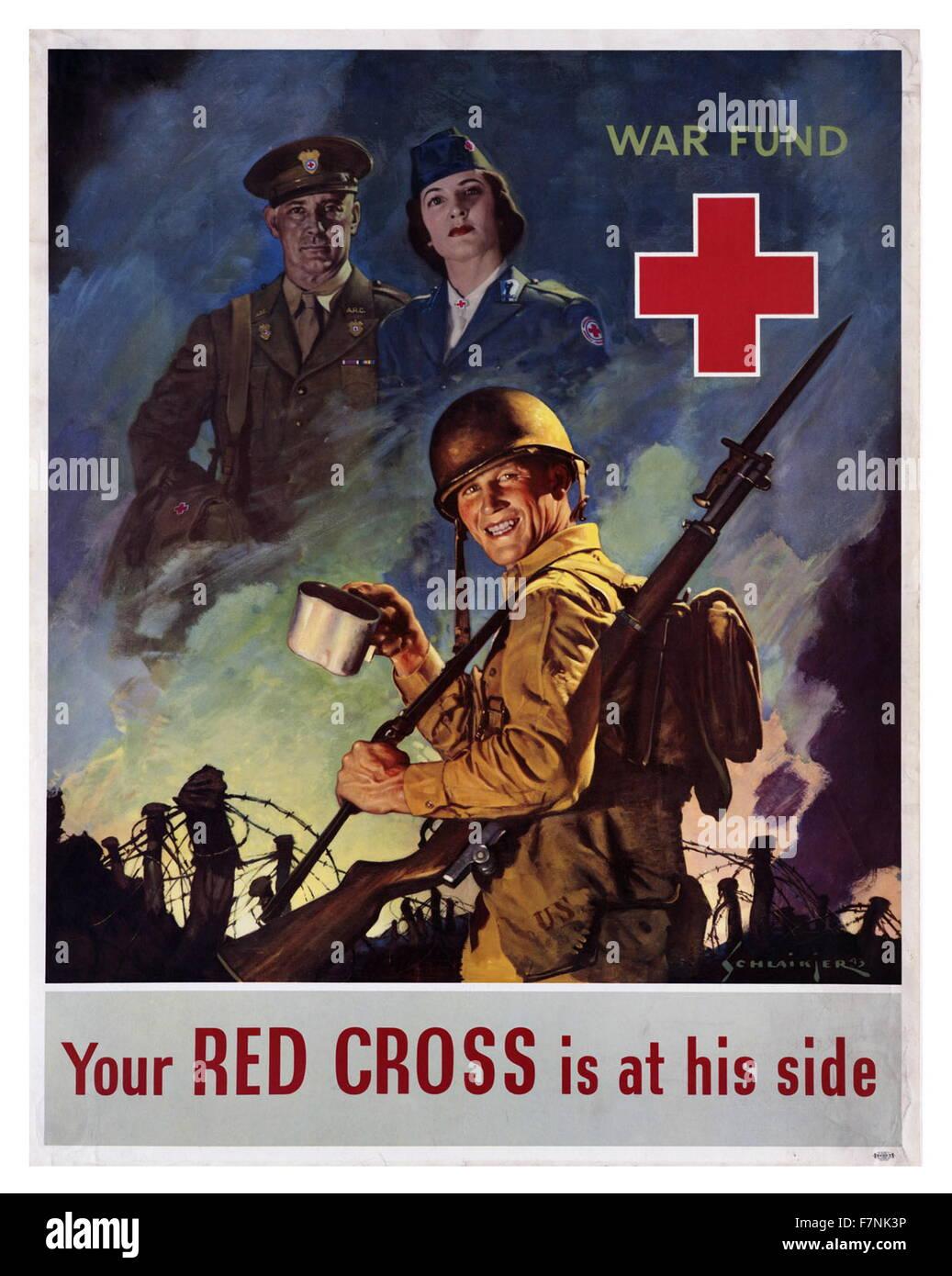 Seconde Guerre mondiale: Affiche de propagande américaine 1942 Banque D'Images