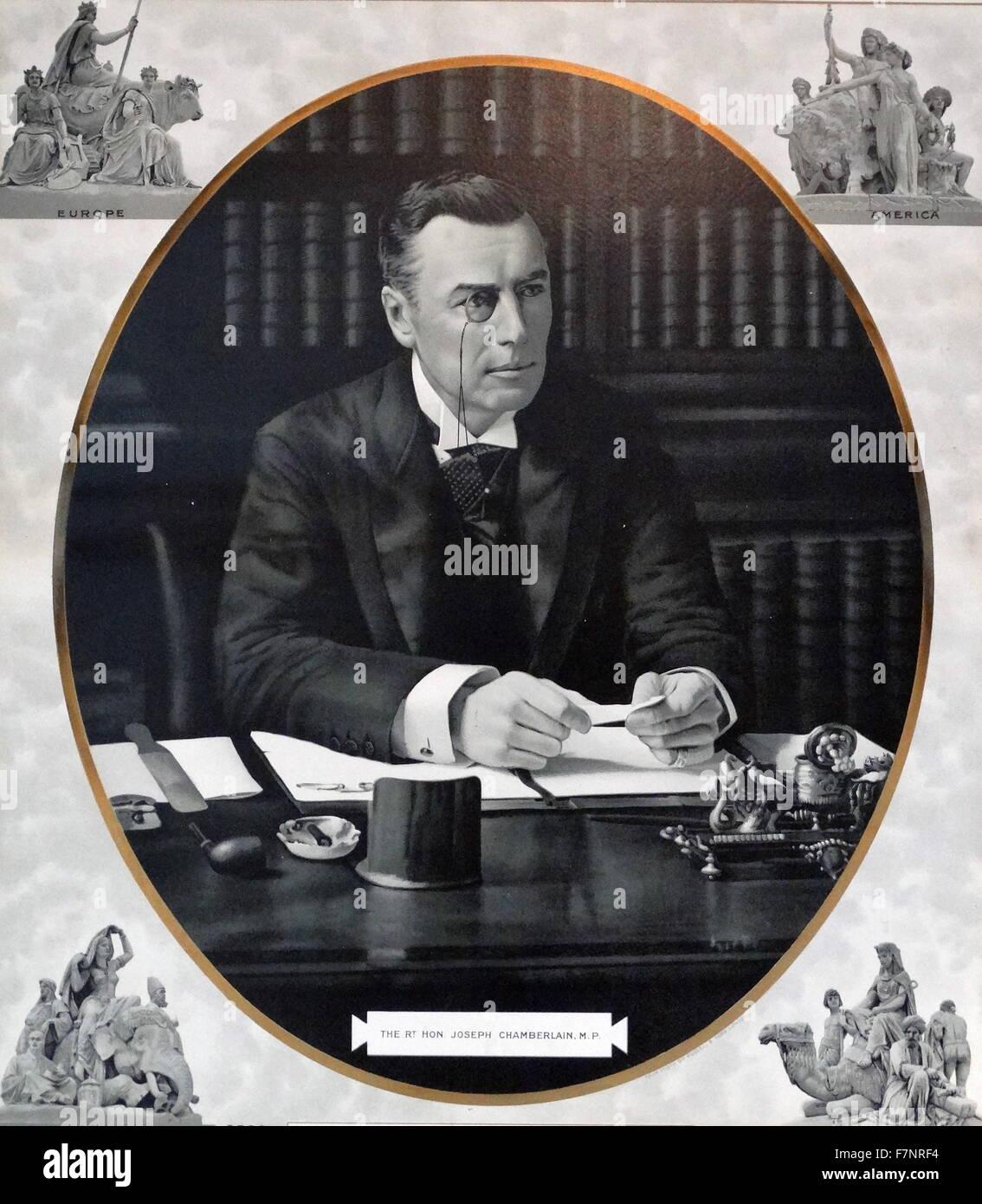 La Très Honorable Joseph Chamberlain (1836-1914) Homme politique britannique et homme d'État. Datée Photo Stock