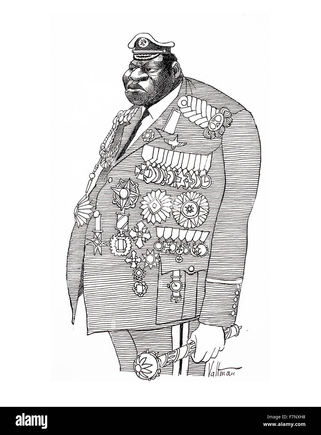 Caricature montrant Field Marshall, Idi Amin Dada (ch. 1925 - 16 août 2003) Président de l'Ouganda, Photo Stock