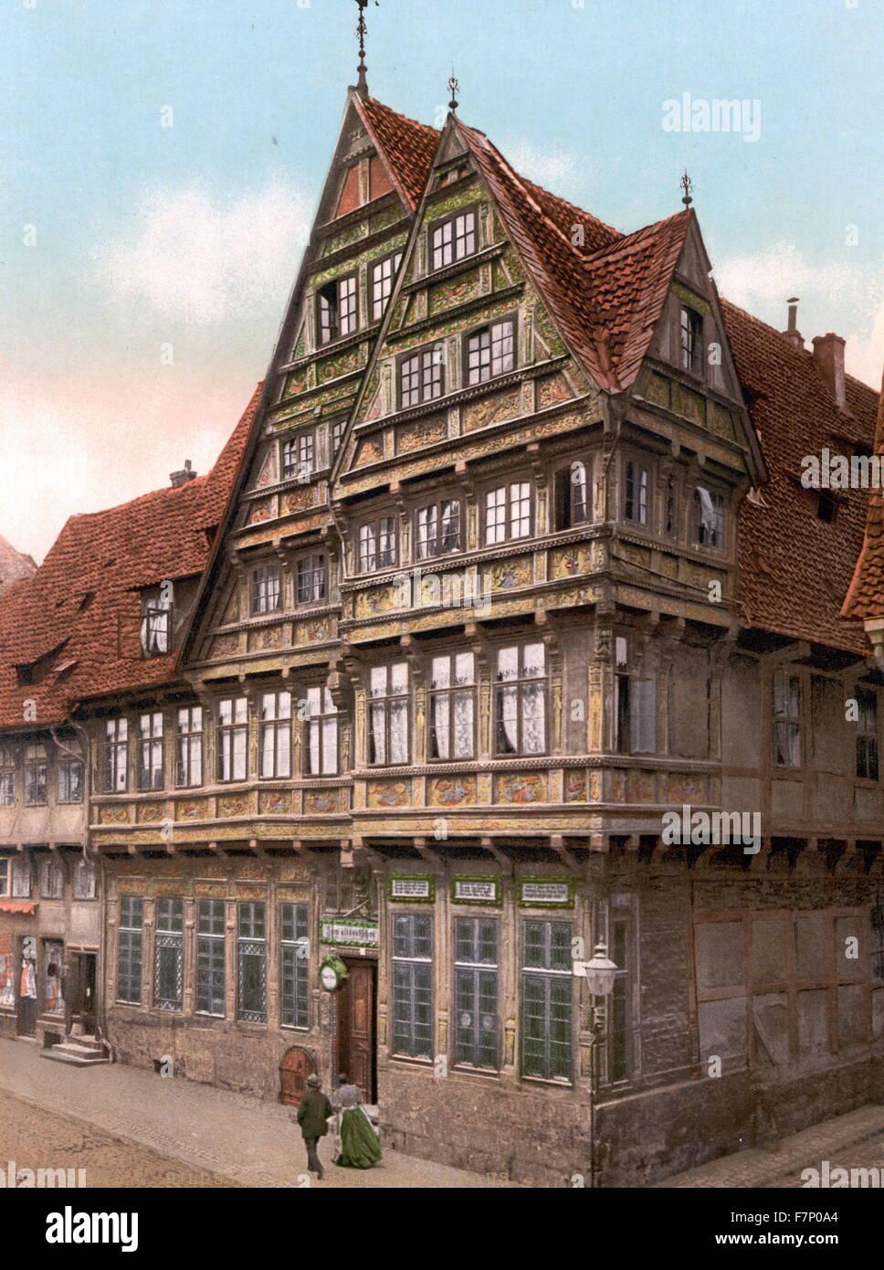 Maison ancienne, Hildesheim, Hanovre, Allemagne 1890 Photo Stock