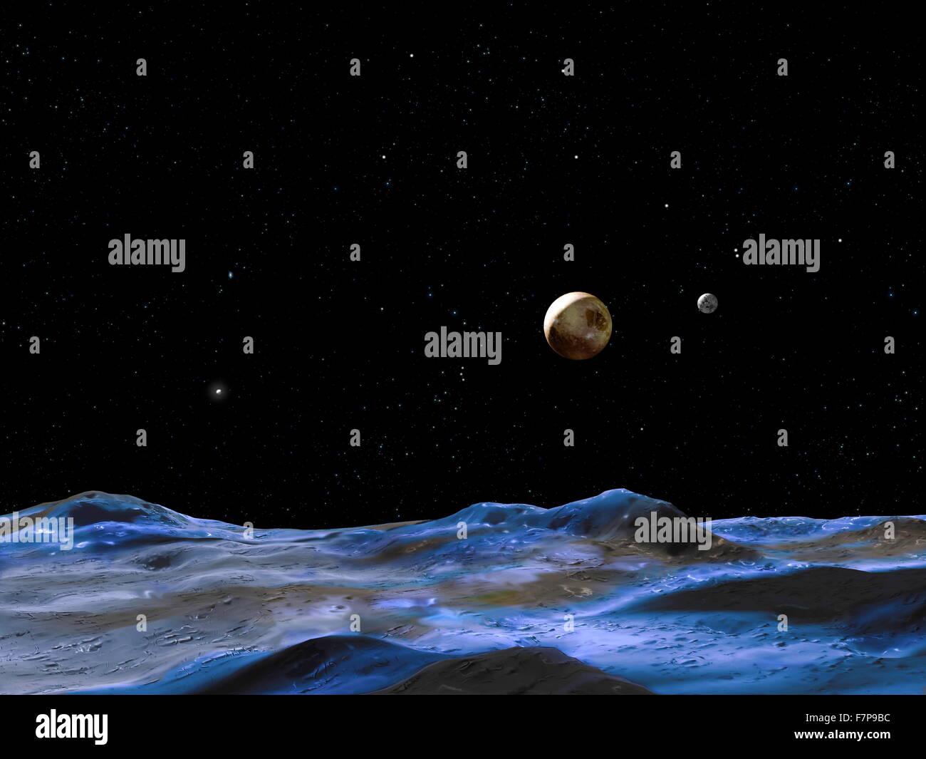 Concept de l'artiste ci-dessus montre le système de Pluton à partir de la surface de l'une des Photo Stock